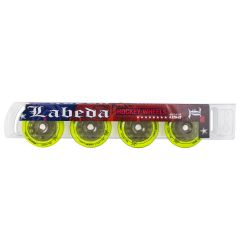 Labeda Union X-Soft 74A Roller Hockey Wheel - Yellow - 4 Pack