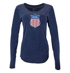 USA Hockey Nike Olympic Women's V-Neck Long Sleeve Tee Shirt