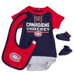 Montreal Canadiens Reebok Junior League Creeper 3 Piece Bodysuit Set