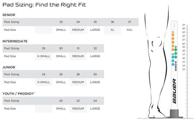 bauer leg pad sizing chart