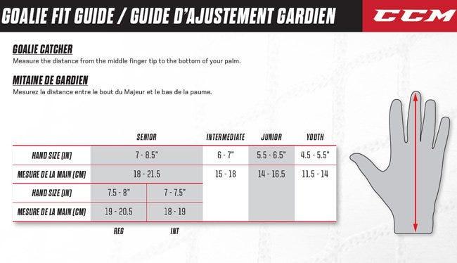 ccm goalie glove sizing chart