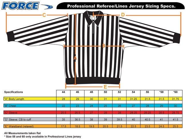 force pro mens referee jersey sizing 2016