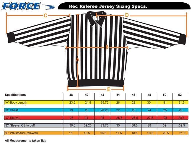 force pro rec referee jersey sizing 2016