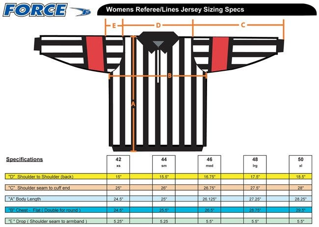 force pro womens referee jersey sizing 2016