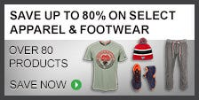 Save Up To 80% On Select Apparel & Footwear